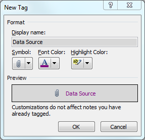OneNote New Tags Window