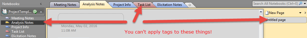 Things you can't apply tags to in OneNote